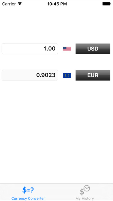 Currency Converter with History iPhone Screenshot 1