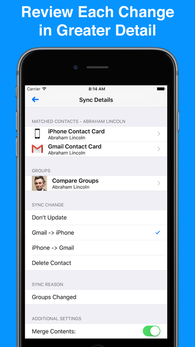 Contacts Sync With Groups For Gmail iPhone Screenshot 3