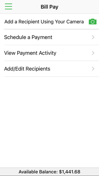 Higher One Mobile Banking App screenshot