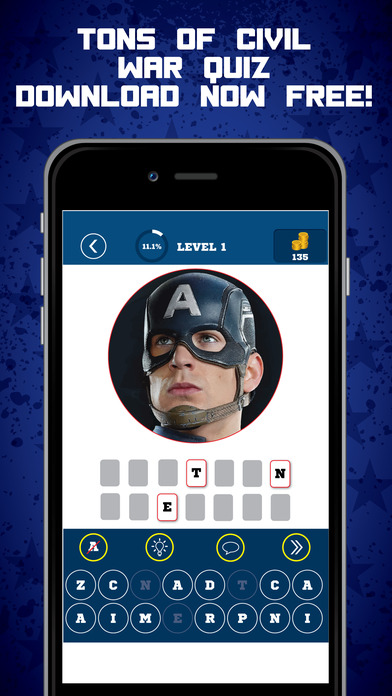All Star Movie Quiz - Civil War Captain America Edition Marvel and DC Trivia Game 2k16 screenshot