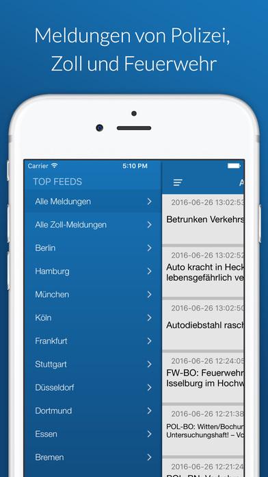 CopReport - Nachrichten über echte Verbrechen, Polizeifälle, der Feuerwehr, des Zolls und Katwarn aus Deiner Umgebung Apps free for iPhone/iPad screenshot