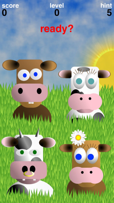 Simoo Free - The simple memory game with cows! iPhone Screenshot 1