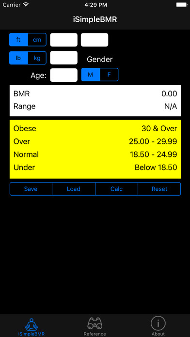 iSimpleBMR iPhone Screenshot 1
