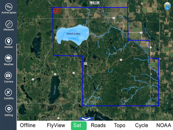 Lake shell wisconsin hd gps fishing map offline on the app for Fishing gps apps