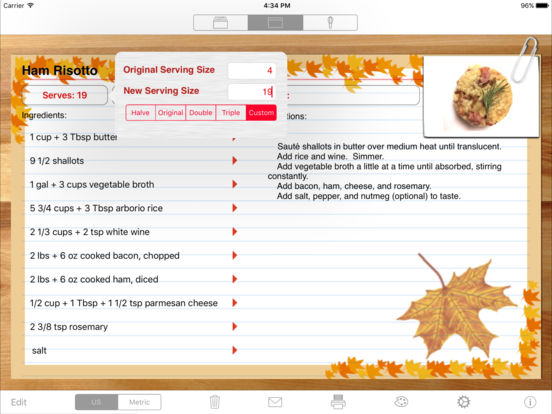 Serving Sizer Pro Recipe Cards for iPad - your recipes, organized for cooking iPad Screenshot 2