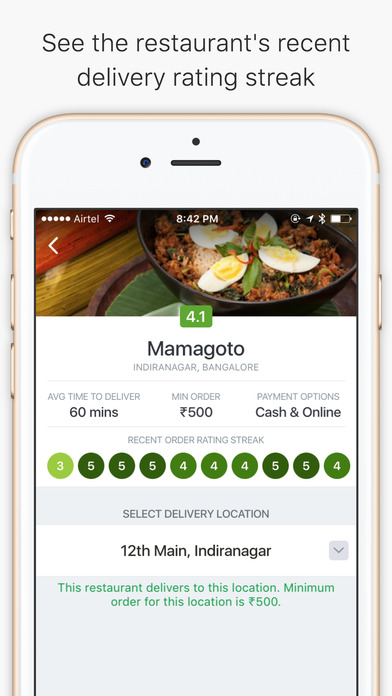 food delivery online ordering app zomato order screenshot