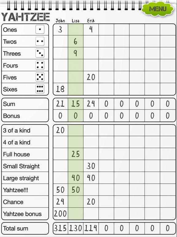yahtzee  scoresheet