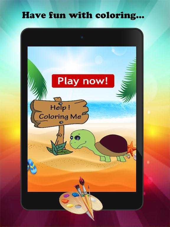 Черепаха мультфильм Краска и раскраска Обучение Мастерство - Забавные игры бесплатно для детей Скриншоты5