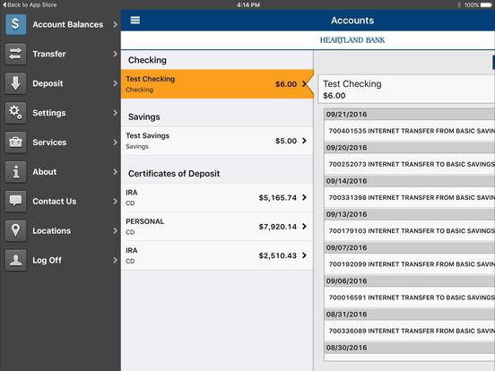 HeartlandBank Ohio iPad Screenshot 1