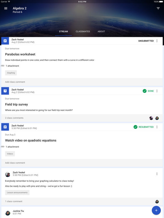 Screenshots of Google Classroom for iPad