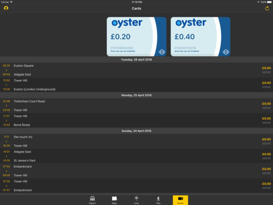 London Tube Tracker Screenshots