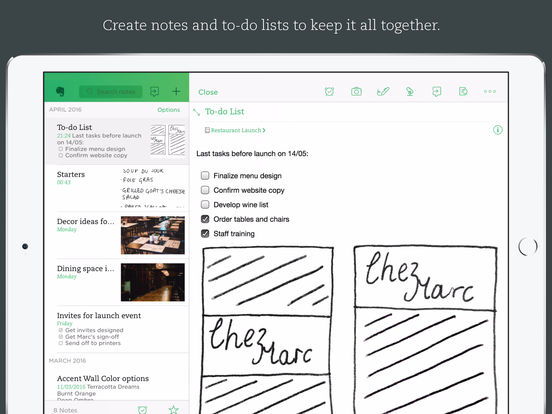 Screenshots of Evernote - capture notes and sync across all devices. Stay organized. for iPad