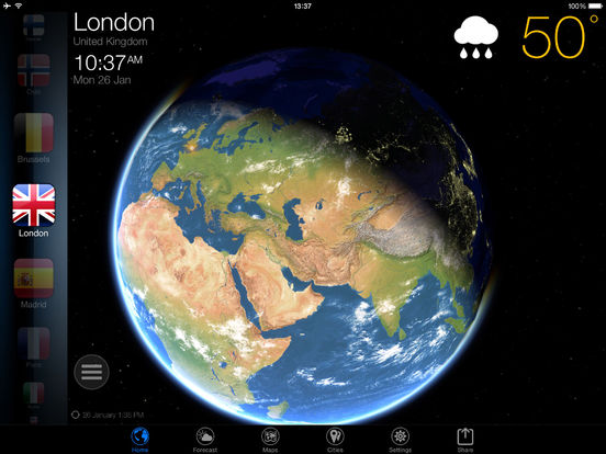 World Weather Forecast. Earth 3D Map and US Widget Screenshots