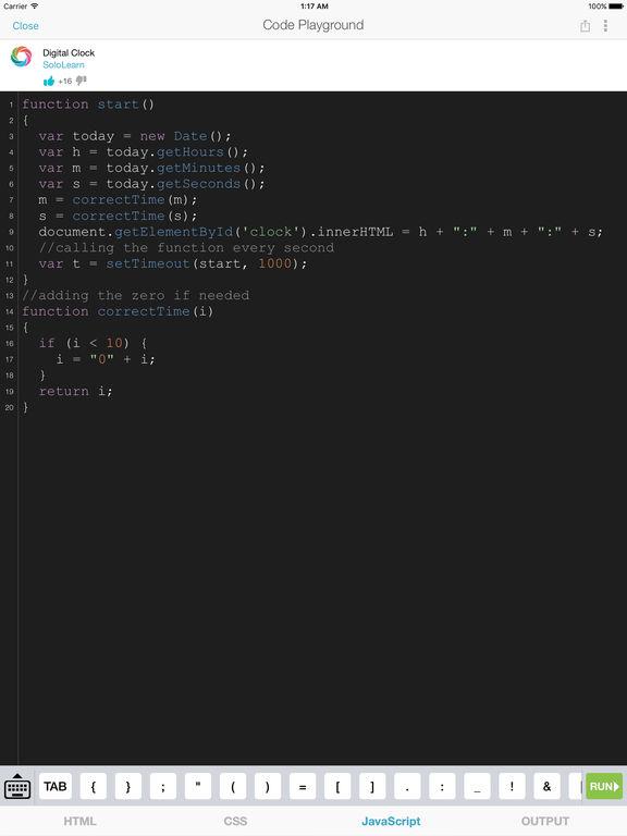 Screenshots of Learn JavaScript for iPad