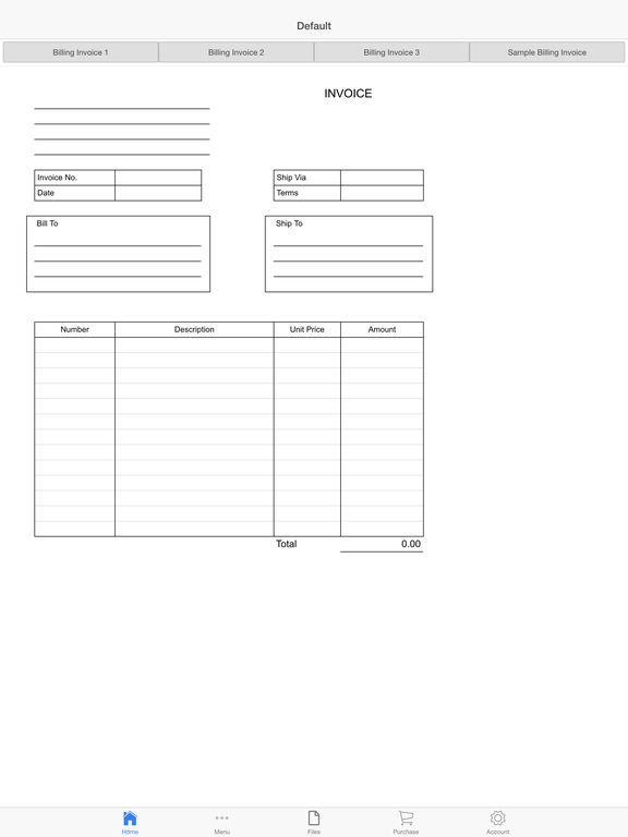Billing Invoice Screenshots
