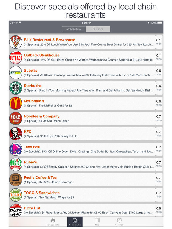 Specials: Restaurant Coupons and Specials for McDoanlds, Dominos screenshot