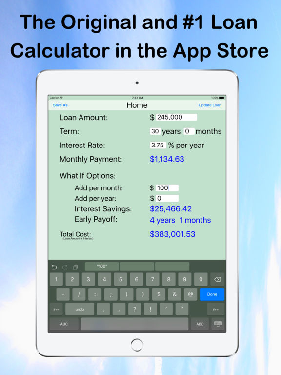 Loan Calculator — What If? screenshot