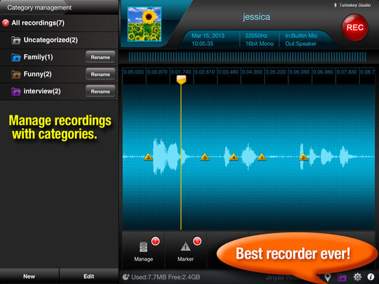 Recorder Plus HD : voice record, audio editor, audio player Screenshots