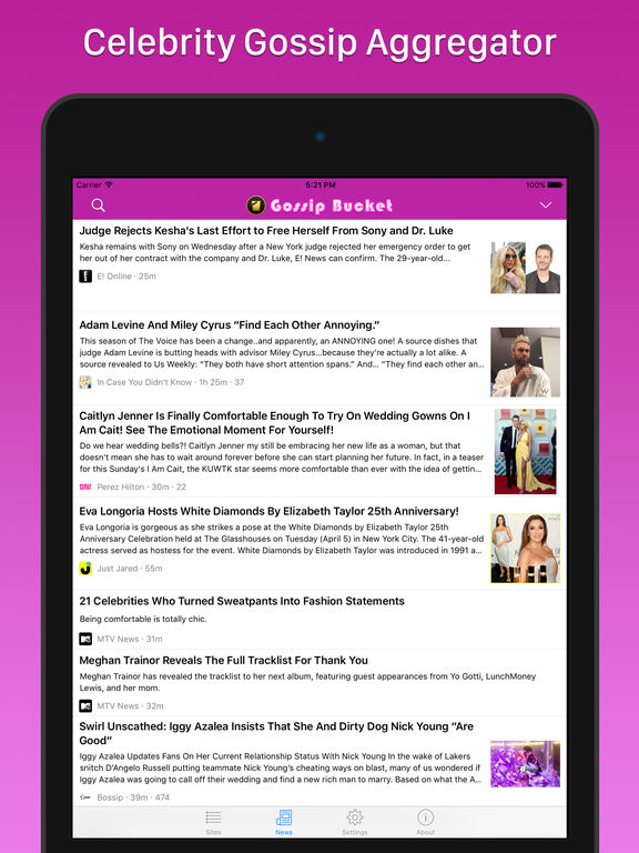 Celebrity gossip blackberry application