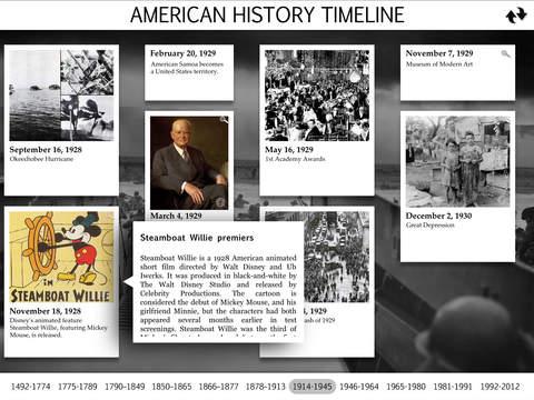 American History Interactive Timeline screenshot