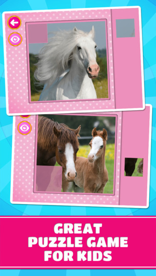 Cute Ponies Puzzles - Logic Game for Toddlers Preschool Kids and Little Girls - Free