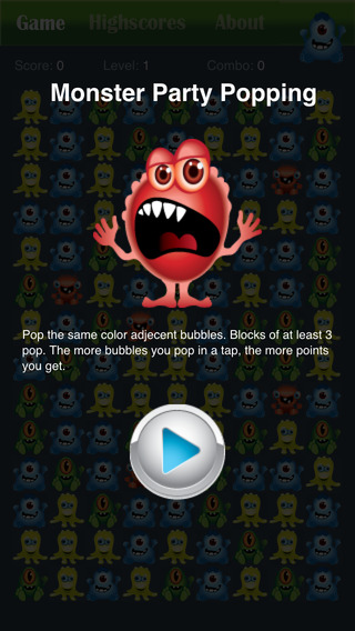 Monster Party Popping Puzzle Game - Halloween edition