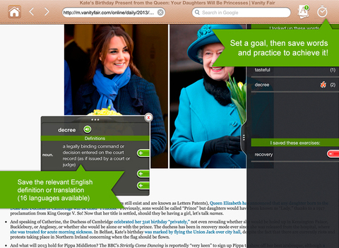 LINGOAL HD - Surf Learn English Web Browser and eBook Reader