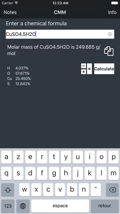 CMM | Calculateur de Masse Molaire iPhone Screenshot 1