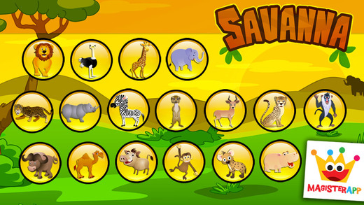 Savanna - Puzzles of Animals for Coloring - Games for Kids - Lite