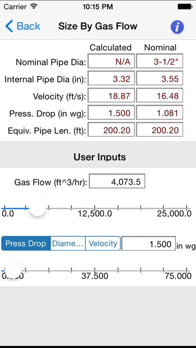 HVAC Pipe Sizer - Gas Low iPhone Screenshot 3
