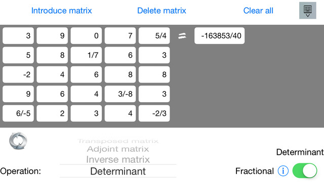 Matrix math calculator Pro