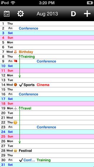 Vertical Calendar.