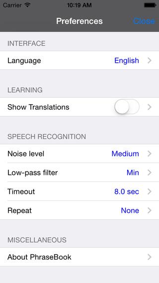 English-Chinese Mandarin Simplified-Japanese Kana Talking Travel Phrasebook iPhone Screenshot 4