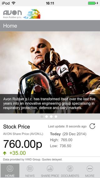 Avon-Rubber Investor Relations App for iPhone