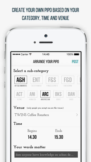 Pipo - topic based socializing in real life