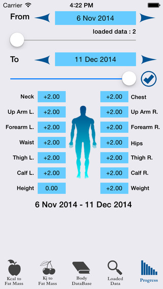 MyPerfect Body : Fat Mass Calculator Body Database - Diet and Workout