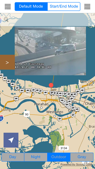 Louisiana New Orleans Offline Map with Real Time Traffic Cameras Pro