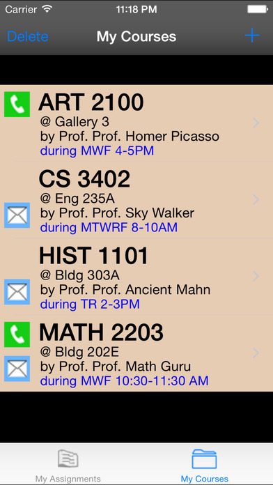 myAssignments iPhone Screenshot 2
