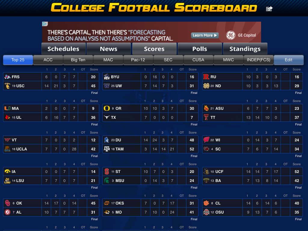 College Football Scoreboard App Shopper: College F...
