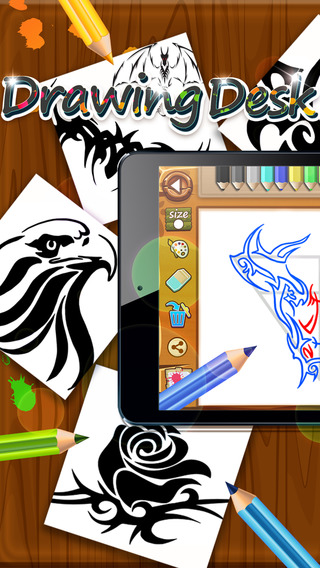 Drawing Desk Tribal Tattoo : Draw and Paint Coloring Book Edition