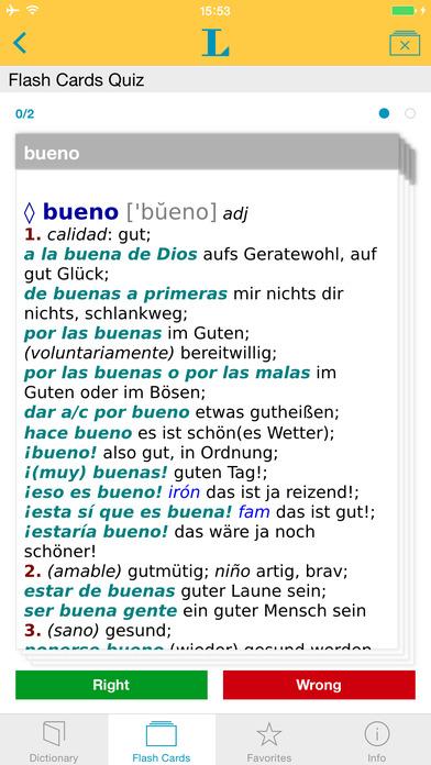 Spanish <-> German Talking Dictionary Langenscheidt Standard iPhone Screenshot 3