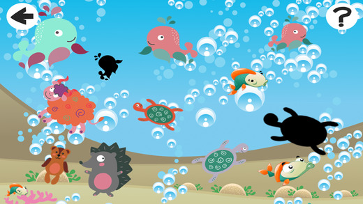 Animals of the Sea Shadow Game: Play and Learn shapes for Children