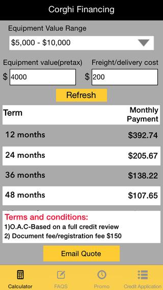 Corghi-USA Lease Rate Calculator