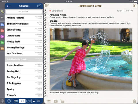 NoteMaster Lite for iPad - Amazing notes synced with Dropbox or Google Drive