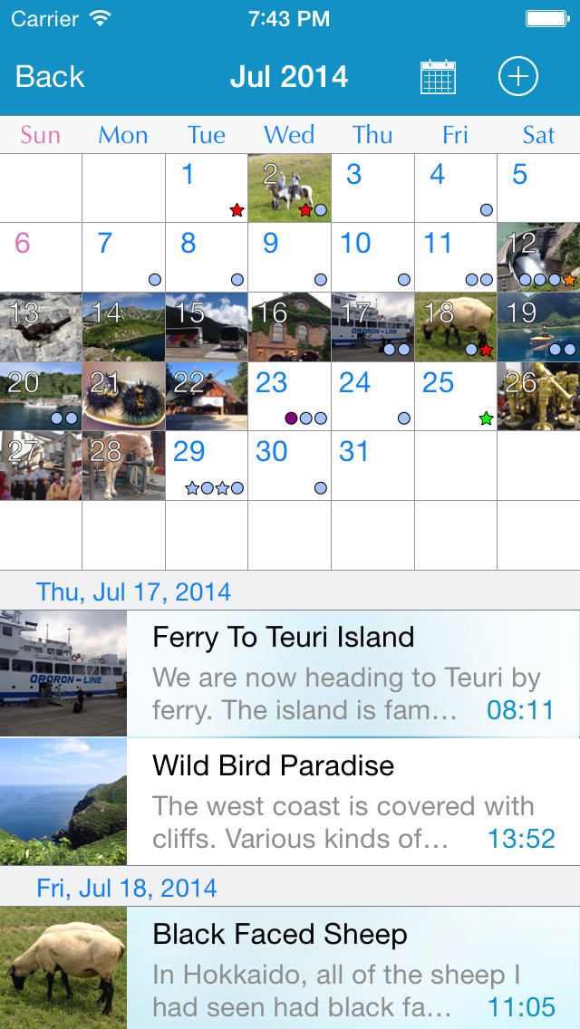 Calendar Notebook App : Rainbownote notebook diary with photo calendar ios
