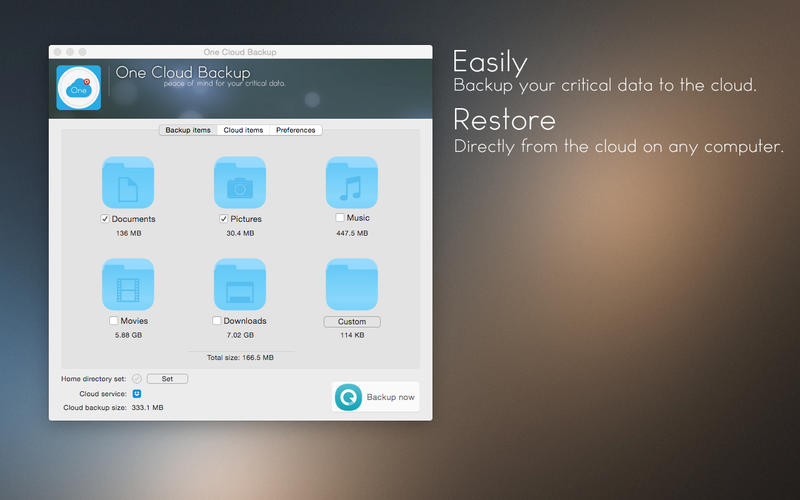 One Cloud Backup Screenshot - 1