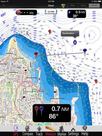 Aegean Sea South GPS Nautical charts pro