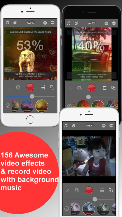 Screenshots of AvFX - awesome video effect, editor & background music edit for Instagram, Facebook, Youtube, Vine for iPhone