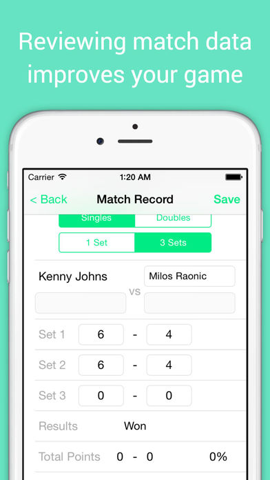 TennisCore - track tennis scores & review match stats screenshot