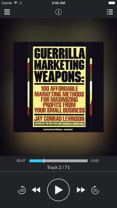 Guerrilla Marketing Weapons (by Jay Conrad Levinson) (UNABRIDGED AUDIOBOOK) : Blackstone Audio Apps : Folium Edition iPhone Screenshot 1